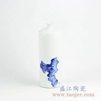 RYNQ226_手绘青花太湖石图案陶瓷花瓶摆件 现代简约风格家居装饰品 陈设瓷