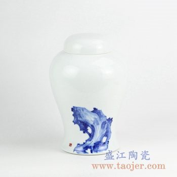 RYNQ231_手绘青花陶瓷盖罐 现代风格中国风陶瓷罐摆件 储物罐 家居装饰品