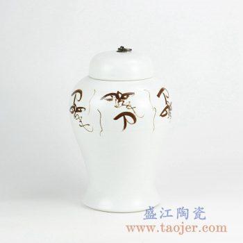 RYNQ232_景德镇手绘文字图案陶瓷盖罐 储物罐 现代中式家居装饰摆件
