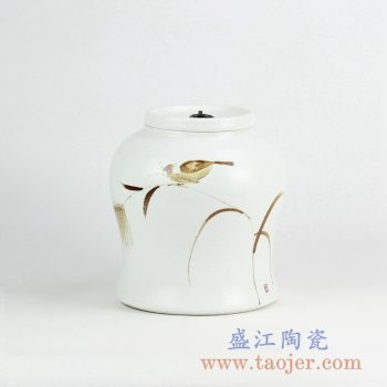 RYNQ233_景德镇手绘花鸟植物陶瓷茶叶罐摆件 现代绘画装饰摆件 储物罐