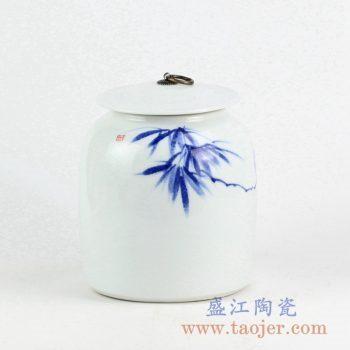 RYNQ234_手绘青花竹叶图案陶瓷盖罐 现代家居装饰陶瓷摆件 储物罐