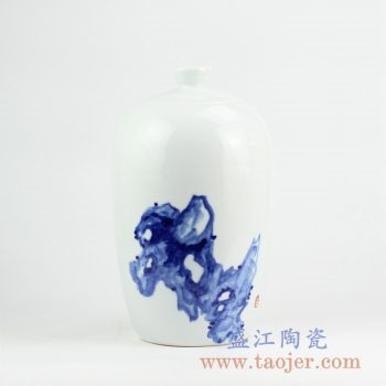 RYNQ235_景德镇手绘青花花瓶艺术陈设品 现代艺术装饰摆件 陶瓷家居装饰品