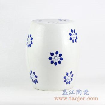 RYNQ237_景德镇手绘青花陶瓷鼓凳 现代风格简约清晰装饰图案凉凳 户外庭院凳子