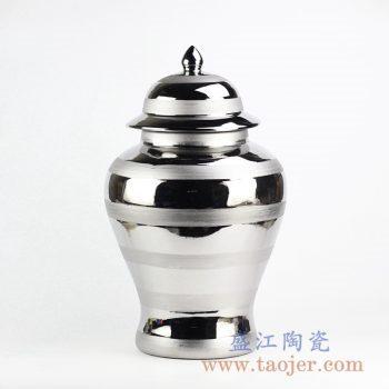 RYNQ238_镀银条纹陶瓷将军罐陶瓷摆件 现代风格家居装饰品
