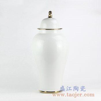 RYNQ239-A_白色现代风格颜色釉镀金陶瓷将军罐摆件 时尚简约风格落地家居装饰摆件