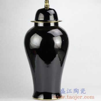 RYNQ239-B_景德镇黑色颜色釉将军罐 镀金狮子头陶瓷盖罐摆件 现代家居装饰落地装饰品