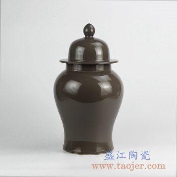 RYNQ240_咖啡色褐色单色釉将军罐摆件 装饰陶瓷罐摆件 储物罐