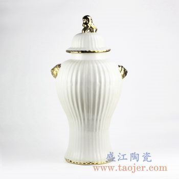 RYNQ241_景德镇白釉镀金狮子头陶瓷将军罐摆件 现代简约风落地装饰陶瓷