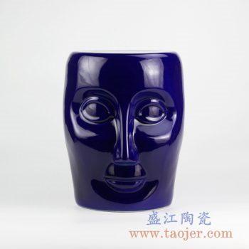 RYNQ55-C_景德镇颜色釉蓝色深蓝人脸雕刻陶瓷凳子 凉凳 现代家居装饰品 户外庭院凳子