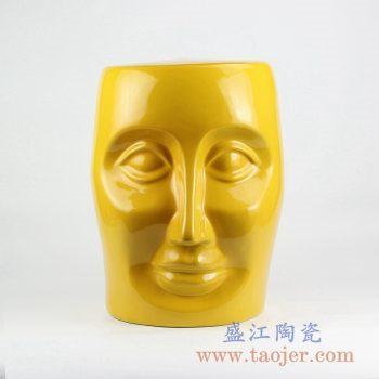 RYNQ55-D_颜色釉黄色陶瓷人脸凳子 凉凳 陶瓷家具户外庭院凳子 现代时尚风格家居