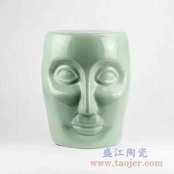 RYNQ55-F_景德镇青釉人脸雕刻陶瓷凳子 凉凳 现代家居装饰品 户外庭院凳子