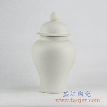 RYUJ19-A_景德镇素胎陶瓷将军罐 自然古朴风格落地摆件 现代风格客厅大厅装饰品
