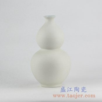 RYUJ19-B_景德镇哑光陶瓷葫芦瓶摆件 茶室客厅书房装饰品 现代插花花瓶