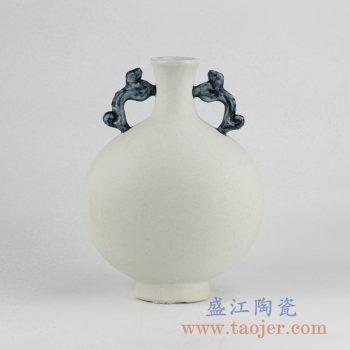 RYUJ19-C_景德镇素胎哑光双耳扁瓶 陶瓷花瓶摆件 自然古朴风格花瓶摆件 现代插花茶室装饰品