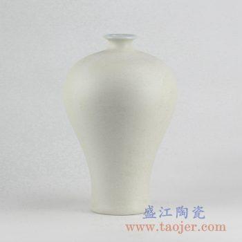 RYUJ19-F_景德镇哑光陶瓷花瓶梅瓶 自然古朴风格花瓶摆件 现代插花茶室装饰品