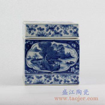 RYUK30_手绘青花方形茶叶罐 传统山水 花纹装饰陶瓷罐 现代古典风格家居摆件 装饰品