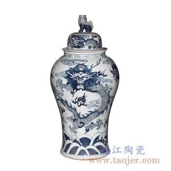 RYWY06-B_青花龙纹狮子头将军罐 盖罐 现代家居装饰摆件 客厅落地陶瓷摆件