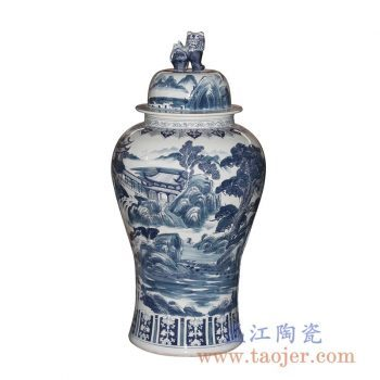 RYWY06-C_景德镇青花山水图案 手绘陶瓷将军罐 狮子雕塑带盖陶瓷罐摆件 古典风格