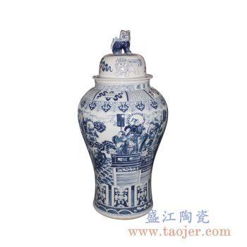 RYWY06-D_手绘青花狮子头盖罐 传统人物图案将军罐 陶瓷罐 传统风格家居摆件