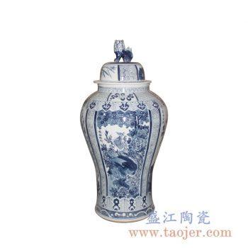 RYWY06-E_景德镇手绘青花将军罐 狮子雕塑盖罐摆件 传统花鸟陶瓷罐装饰摆件