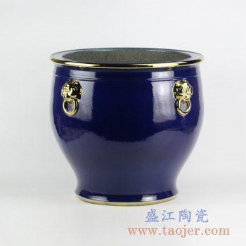 RZFH10-C_景德镇蓝釉描金双耳陶瓷大水缸 大花盆 大件庭院户外装饰陶瓷摆件