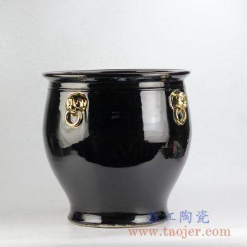 RZFH10-D_颜色釉双耳镀金陶瓷水缸 鱼缸 户外庭院大花盆 大件黑色陶瓷装饰