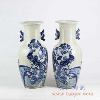 RZFI07_青花手绘孔雀花鸟纹双耳陶瓷花瓶 传统青花瓷装饰摆件 现代家居装饰品