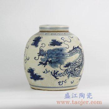 RZFZ05-F_景德镇传统手绘青花龙纹陶瓷罐 茶叶罐 古典现代家居装饰摆件 陈设瓷