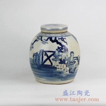 RZFZ05-G_景德镇手绘青花陶瓷罐摆件 人物图案传统茶叶罐 储物罐 现代家居装饰摆件