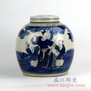 RZFZ05-H_景德镇手绘青花人物陶瓷罐 茶叶罐 储物罐 家居装饰摆件