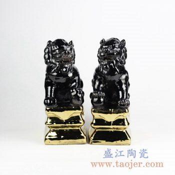 RZGA01-G_陶瓷狮子摆件 黑色单色釉镀金底座对狮装饰摆件 古典风格