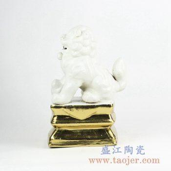 RZGA01-H_白釉陶瓷狮子雕塑装饰摆件 镀金陶瓷装饰品 书房客厅展厅摆件