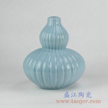 RZJX01-A_蓝色单色釉葫芦瓶摆件 瓜棱纹陶瓷花瓶 家居陶瓷装饰品 现代简约风格