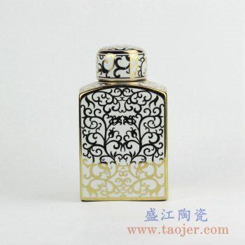 RZKA15A289_陶瓷扁瓶方形摆件 描金缠枝花纹茶叶罐 储物罐 古典风格装饰