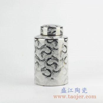 RZKA161261_镀银陶瓷茶叶罐 现代装饰摆件 直筒形陶瓷装饰品 带盖储物罐