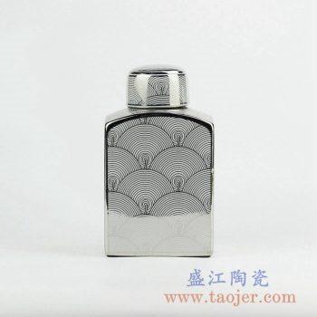 RZKA161265_现代装饰风格方形海水纹镀银陶瓷罐摆件 陶瓷扁瓶 简约装饰