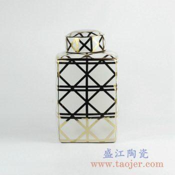 RZKA161306_金色网纹线条菱形 陶瓷罐 茶叶罐 糖果罐 客厅家居装饰摆件