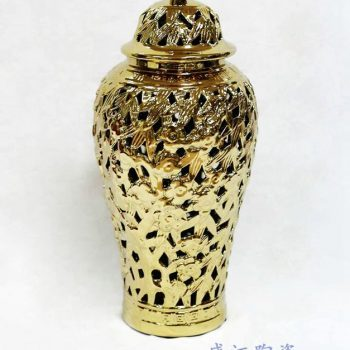 RZKA171005_镀金将军罐陶瓷装饰摆件 竹叶纹雕刻镂刻客厅家装饰品 景德镇