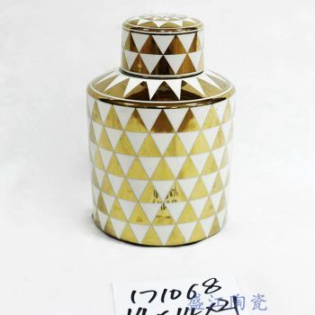RZKA171068_描金几何图案圆形陶瓷茶叶罐 客厅装饰摆件 储物罐 现代简约风格