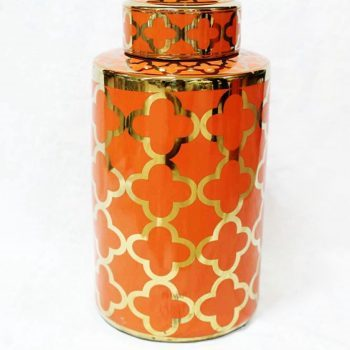 RZKA171082_橘色描金现代家居装饰陶瓷罐 茶叶罐 储物罐 简约摆件