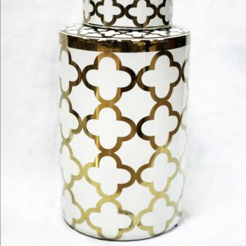 RZKA171096_景德镇陶瓷罐摆件 描金几何图案储物罐装饰 现代风格
