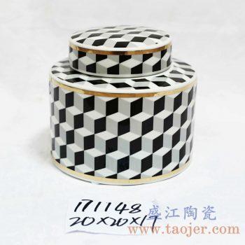 RZKA171148_圆形陶瓷茶叶罐摆件 几何图形描金储物罐 美式乡村风格摆件