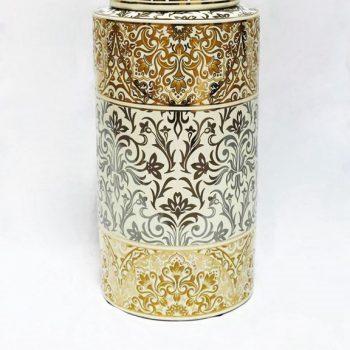 RZKA171165_陶瓷茶叶罐装饰摆件 现代风格 描金花卉图案 家居装饰陶瓷
