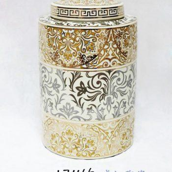 RZKA171166_描金陶瓷茶叶罐 现代摆件 花卉图案家居装饰