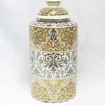 RZKA171168_描金花卉图案陶瓷茶叶罐  装饰摆件 家居装饰