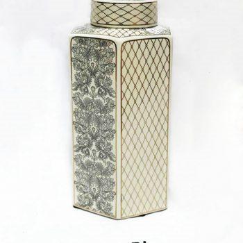 RZKA171171_描金几何形陶瓷罐 花卉几何图形 家居装饰摆件