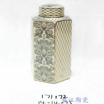 RZKA171172_描金几何六边形陶瓷罐 茶叶罐 花卉几何图形 家居装饰摆件