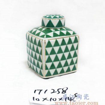 RZKA171258_方形几何图案茶叶罐 陶瓷罐 描金现代陶瓷装饰摆件 简约风格