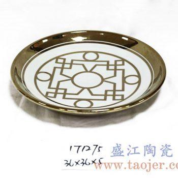 RZKA171275_镀金陶瓷盘子 几何线条图案 装饰瓷盘 挂盘 家居装饰摆件