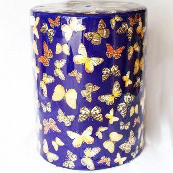 RZKA171298    直筒蝴蝶陶瓷凳凉墩花园凳浴室换鞋凳景德镇摆件